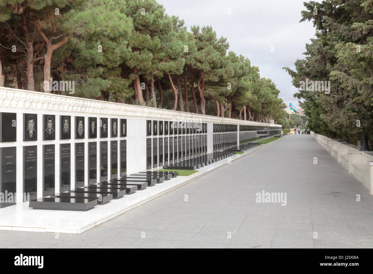 Azerbaijan, Baku. Martyrs' Lane, a memorial and burial site for Azerbaijanis killed by Soviet soldiers in Black Stock Photo