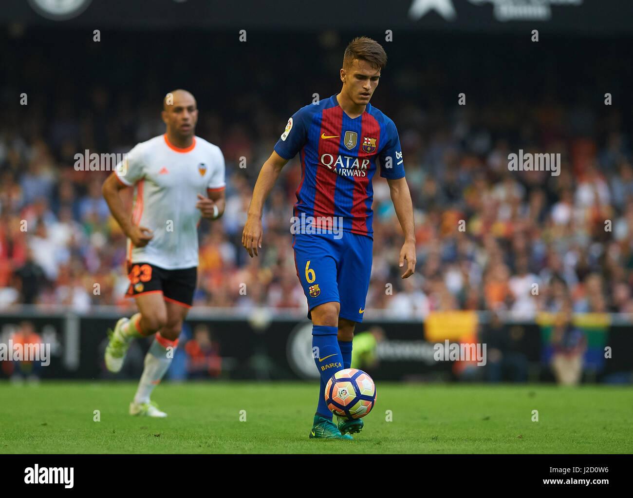 Denis Suarez of FC Barcelona during the La Liga match at Mestalla, Valencia Picture by Maria Jose Segovia/Focus - Stock Image