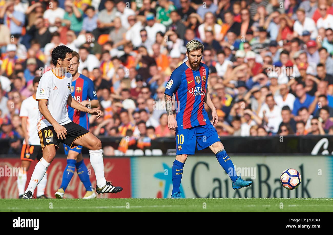 Leo Messi of FC Barcelona during the La Liga match at Mestalla, Valencia Picture by Maria Jose Segovia/Focus Images - Stock Image