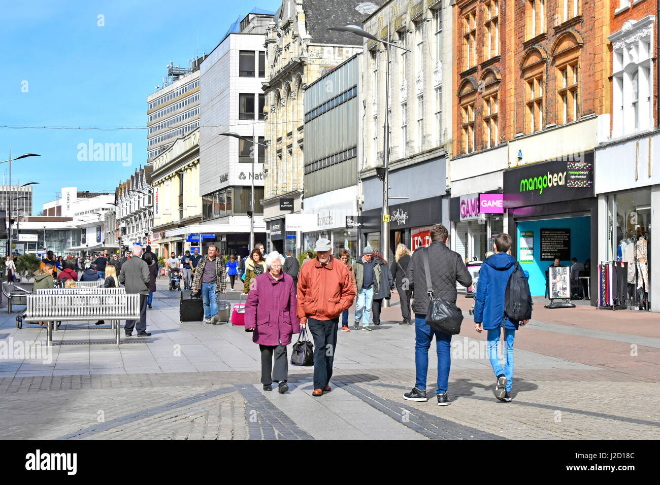 Shopping in Southend on Sea England UK high street retail shops & shoppers town centre pedestrianised shop front - Stock Image