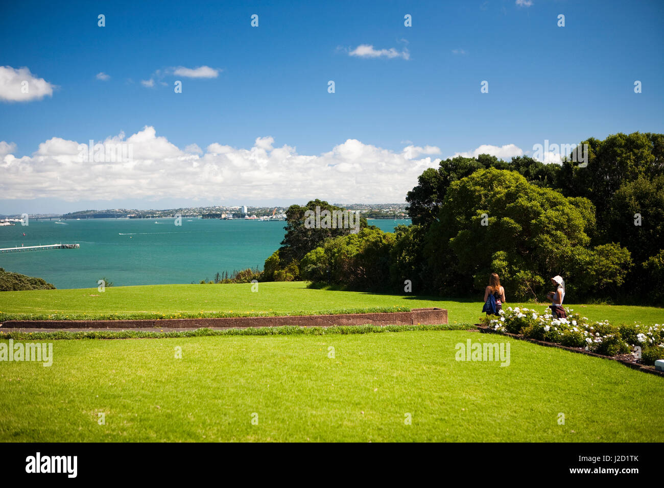 View of Auckland city near Bastion Point and the Michael Savage Memorial in New Zealand. (MR) - Stock Image