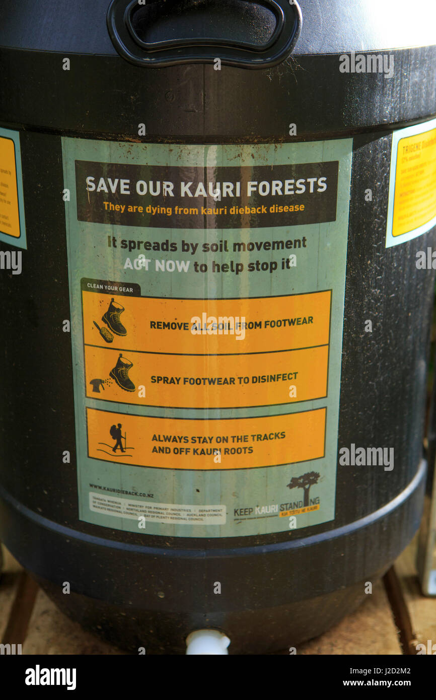 Disinfectant for shoes to stop the spread of Kauri Dieback Disease in Walau Falls Scenic Reserve, Coromandel Peninsula, - Stock Image