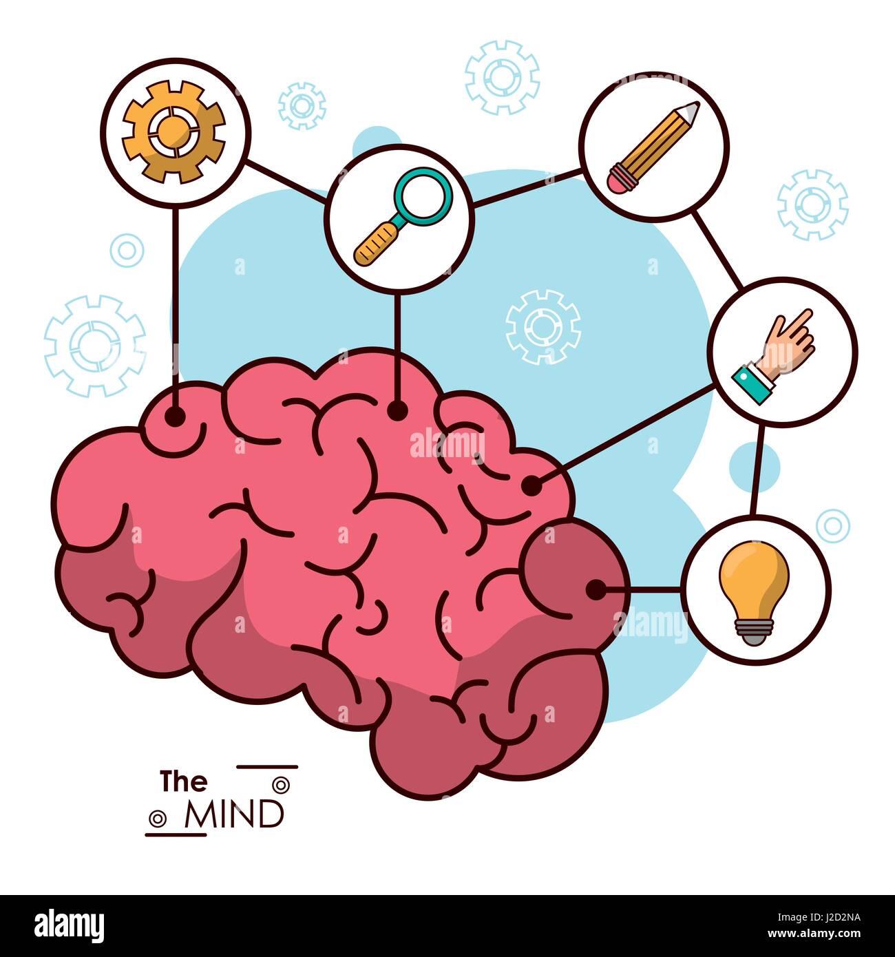 the mind human brain creative innovation idea - Stock Vector