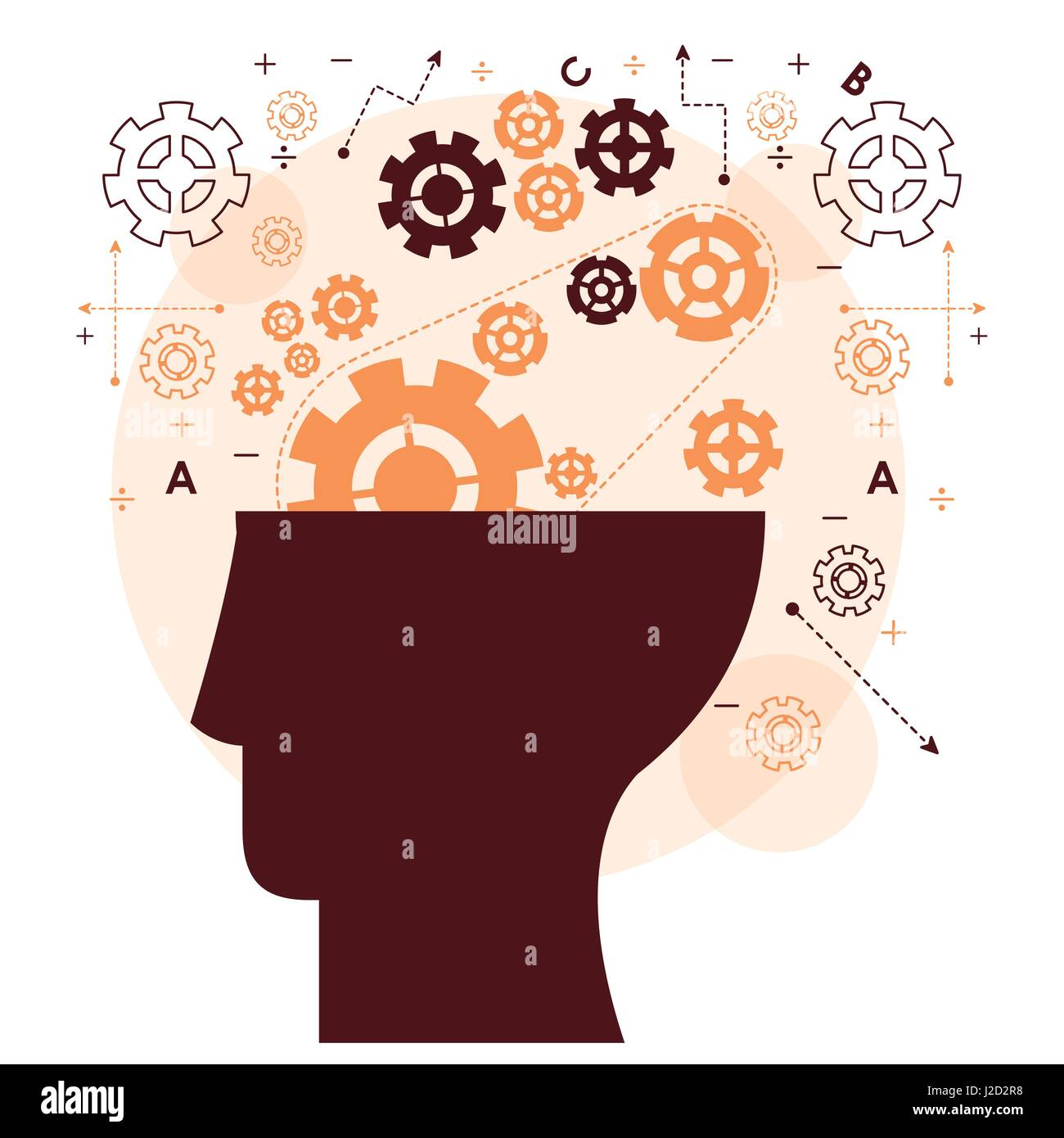 human head mind gear memory mentality work - Stock Vector