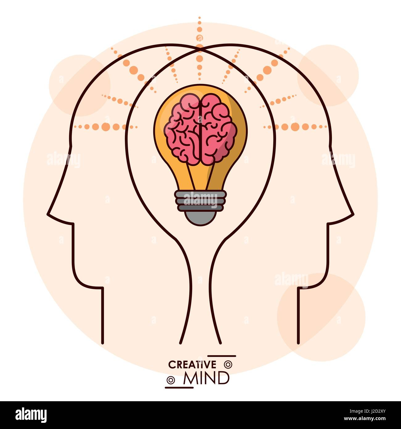 creativity mind heads brain bulb efficient memory team - Stock Image
