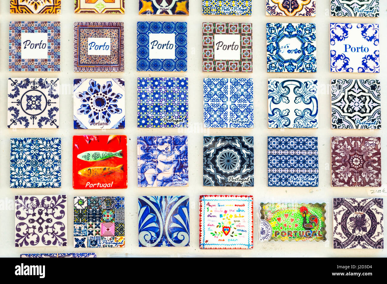 Tiles Porto Portugal, a display of colourful ceramic tiles sold as ...