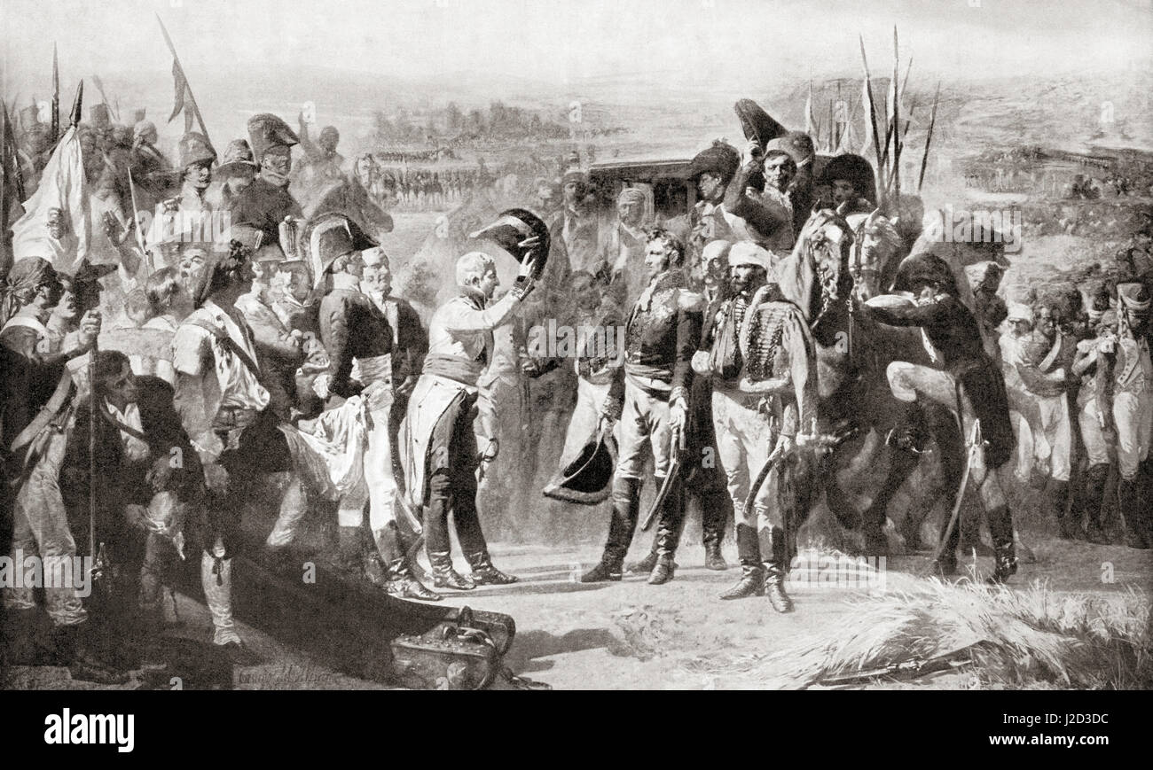 The surrender of Bailén, Spain by General Dupont, centre right, to the Spanish commander Castaños, centre - Stock Image