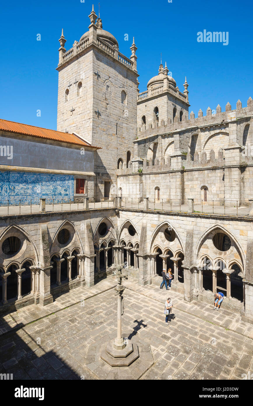 Cathedral Porto Portugal, the gothic cloisters sited inside the Cathedral - or Se - in Porto, Europe. - Stock Image
