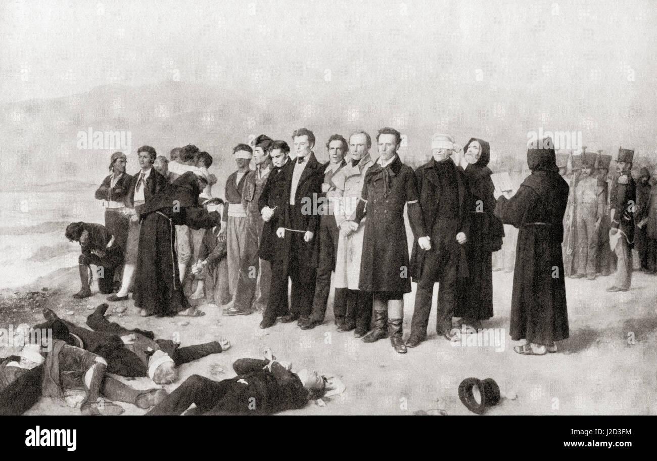 The execution of Jose Maria de Torrijos y Uriarte and his companions in Malaga, Spain, 1831. Jose Maria Torrijos Stock Photo