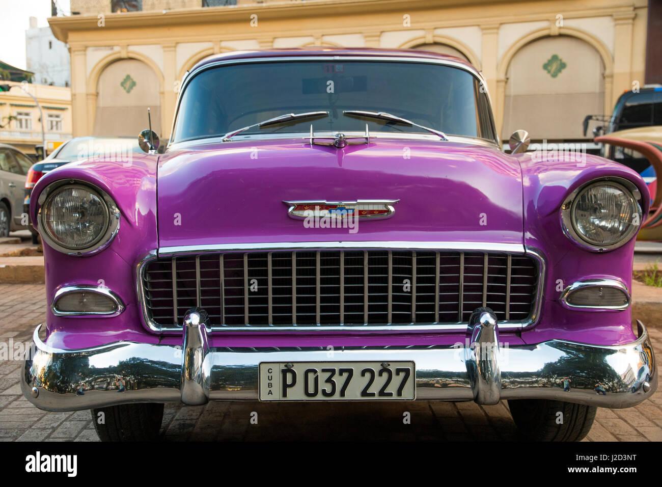 Caribbean, Cuba, Havana. 1955 Chevrolet Bel Air. Collectible ...