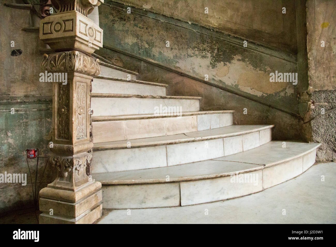Caribbean, Cuba, Vieja Havana, La Guarida restaurant, grand staircase, laundry patio and location for the film, Stock Photo