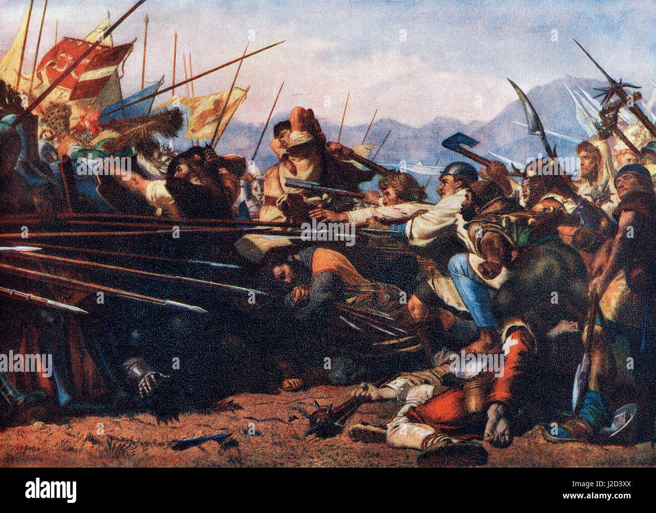The Battle of Sempach, 9 July 1386, fought between Leopold III, Duke of Austria and the Old Swiss Confederacy. Stock Photo