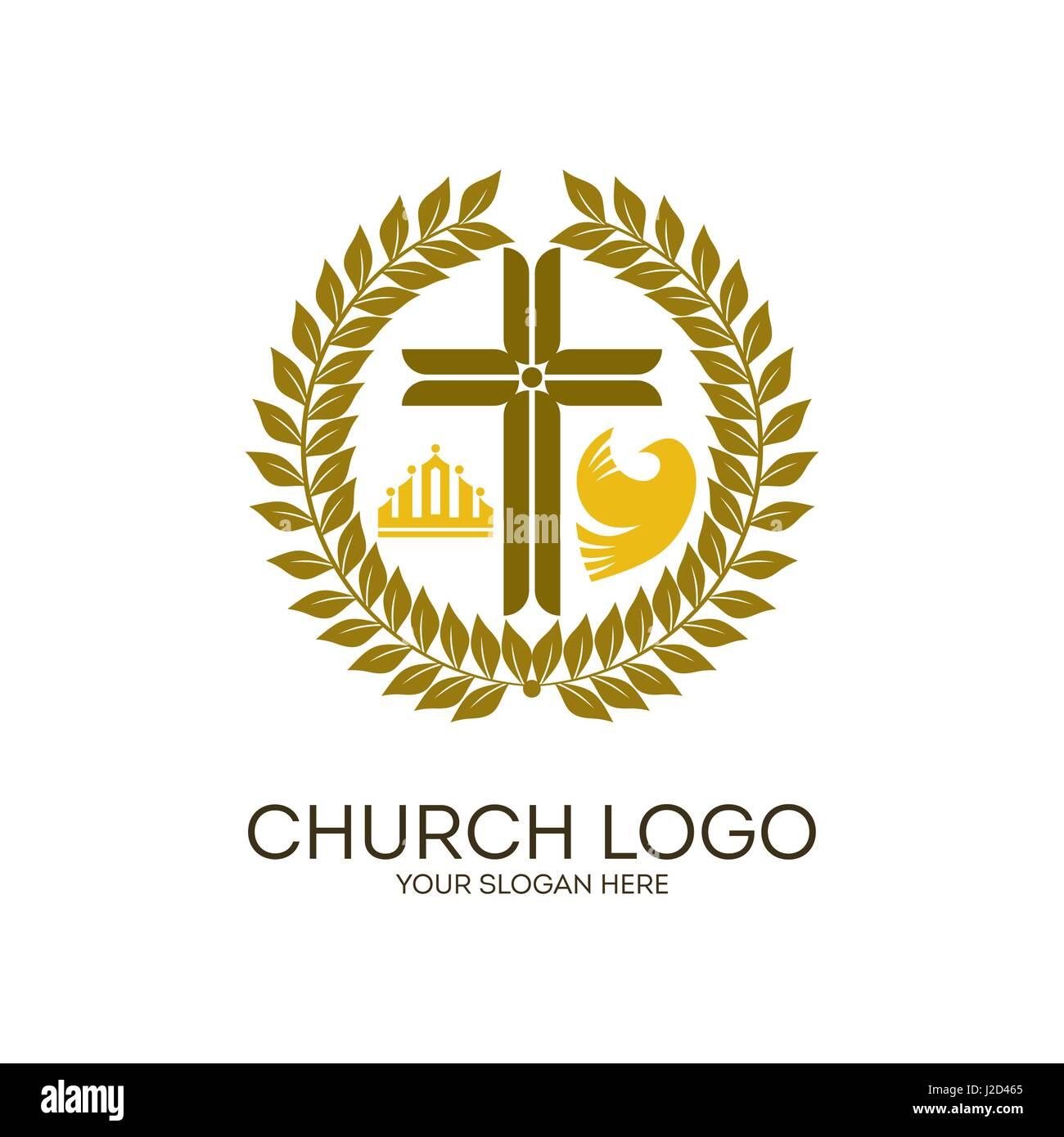 Church Logo Cross Jesus Crown Stock Photos Church Logo Cross Jesus