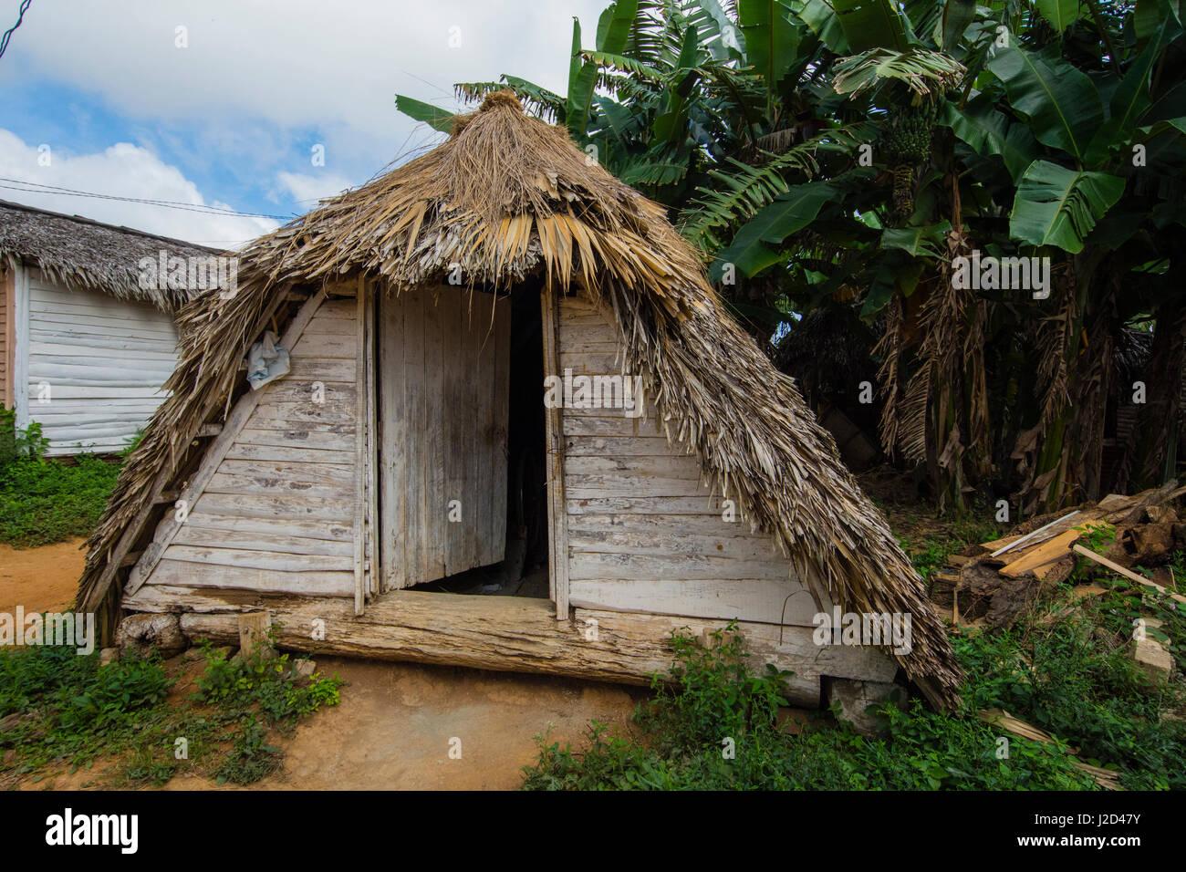 Cuba. Pinar del Rio. Vinales. Small pyramidal shelter used during hurricanes. Stock Photo