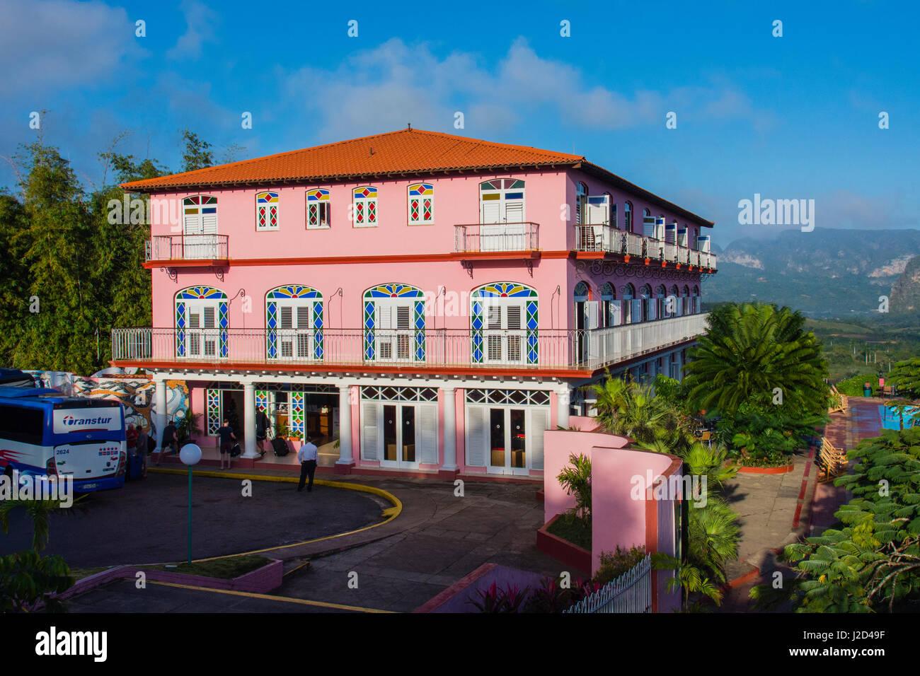 Cuba. Pinar del Rio. Vinales. Hotel Los Jazmines overlooking the Vinales valley. - Stock Image