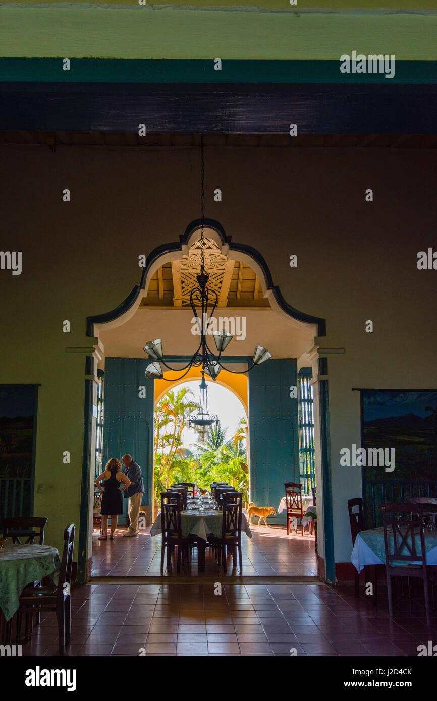 Cuba, Sancti Spiritus Province. Valle de los Ingenios. Manaca Iznaga Plantation. Restaurant and the gardens beyond. - Stock Image