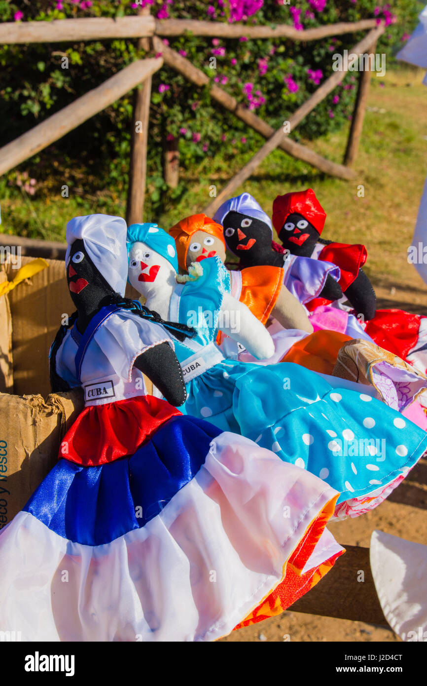 Cuba, Sancti Spiritus Province. Valle de los Ingenios. Manaca Iznaga Plantation. Dolls for sale. - Stock Image