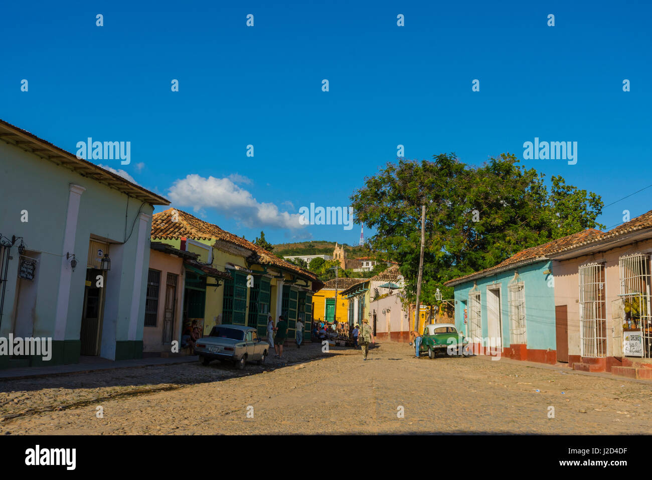 Cuba. Sancti Spiritus Province. Trinidad. Cobbled streets lined with colorful houses. - Stock Image