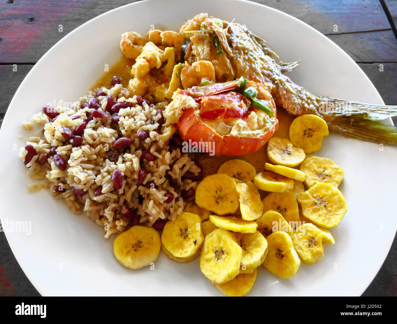 Honduras cuisine stock photos honduras cuisine stock images alamy local food lobster red snapper fish shrimp rice beans fried forumfinder Image collections
