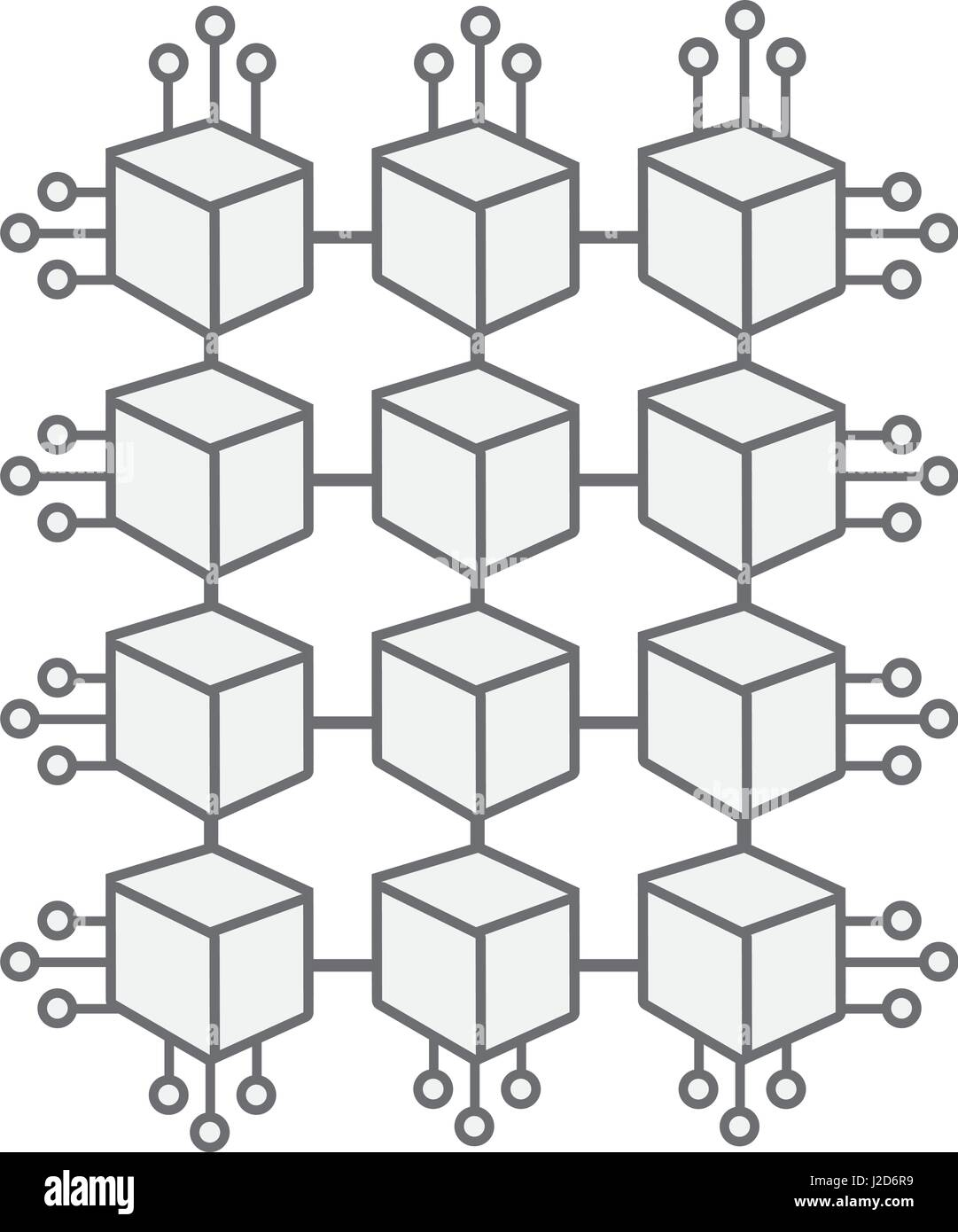 cube with circuits network of communicatig bitcoin transactions - Stock Image