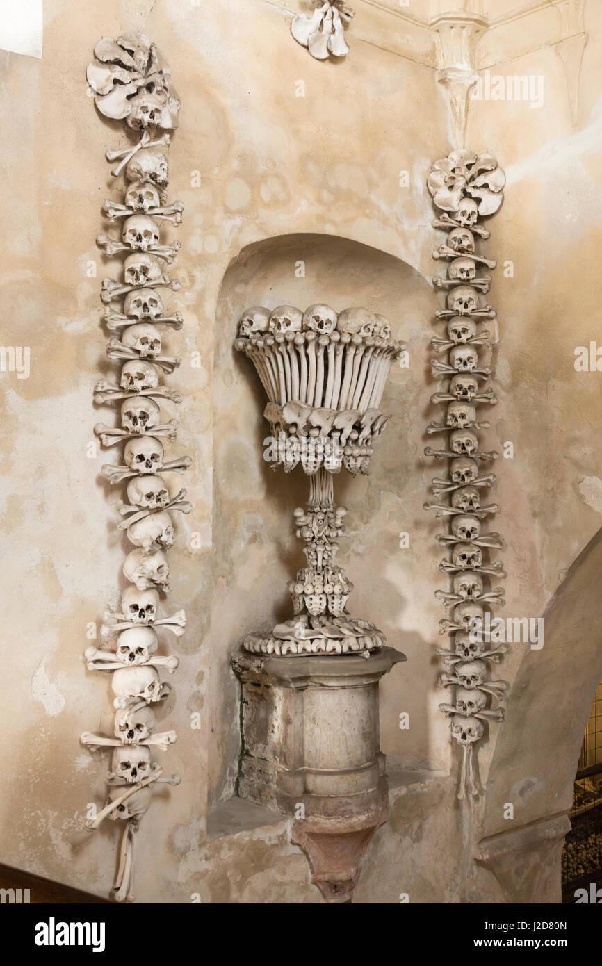Czech Republic, Kutna Hora. Chalice made of human bones inside Church of Bones. Credit as: Wendy Kaveney / Jaynes - Stock Image