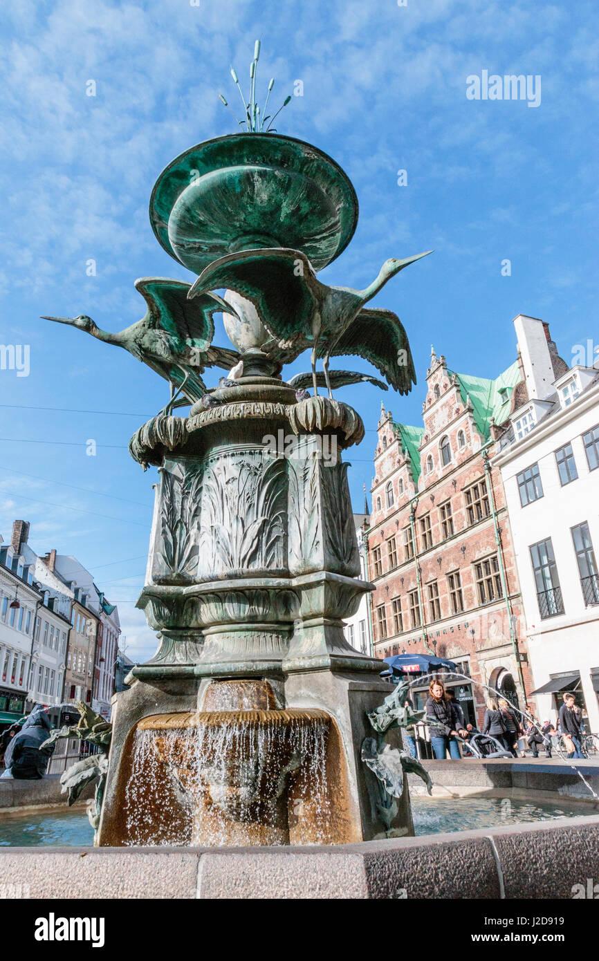 Storkespringvandet. Stork Fountain in Copenhagen Center. Denmark. - Stock Image