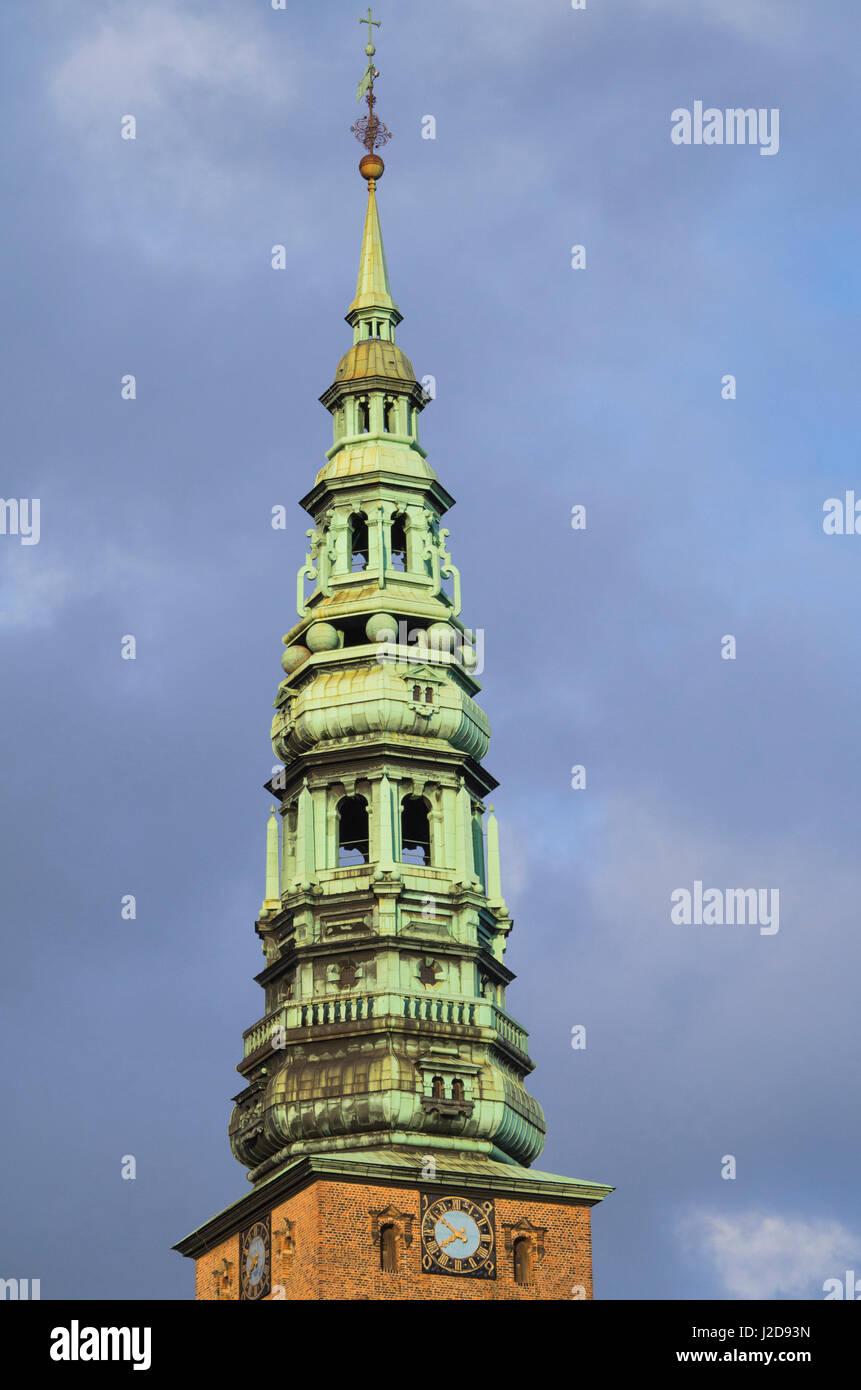 Denmark, Zealand, Copenhagen, Nikolai Church Contemporary Art Center, steeple - Stock Image