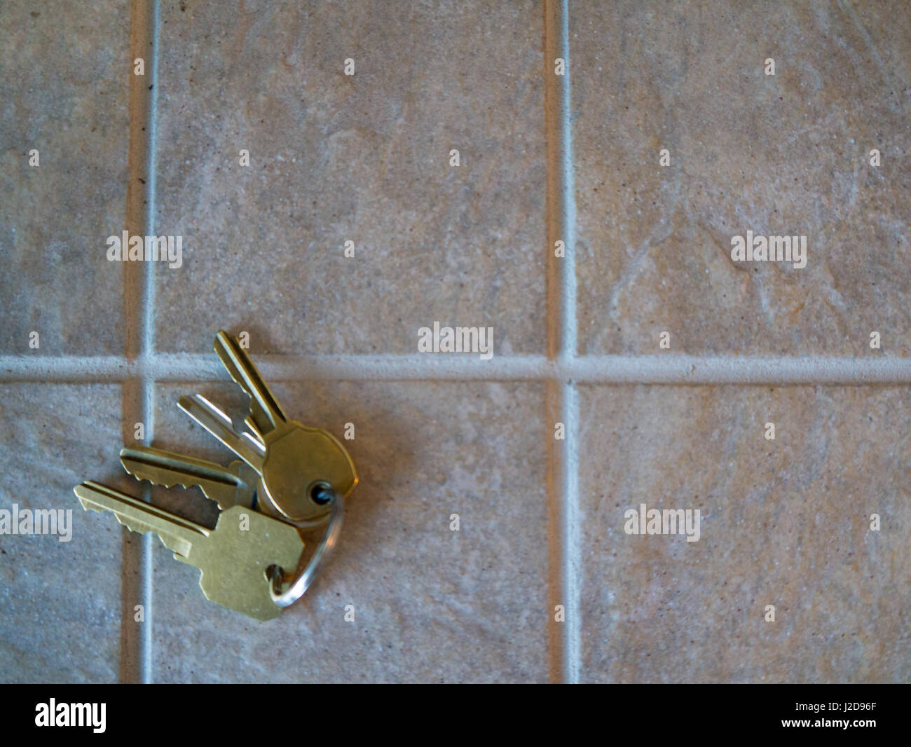 ceramic tiles, keys, sanded grout land, scape orientation - Stock Image