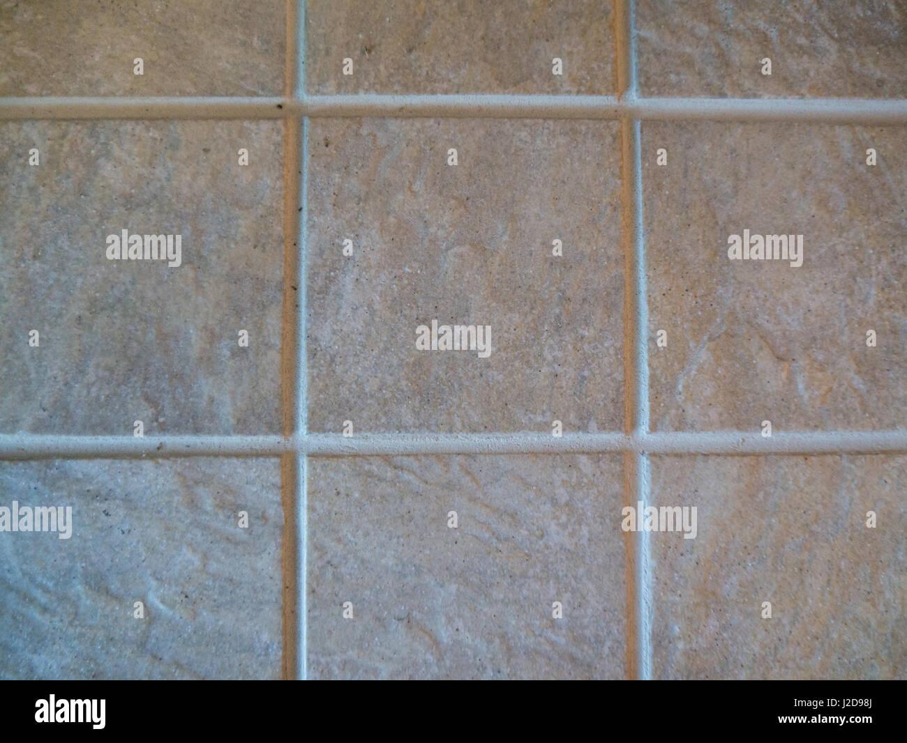 Ceramic tiles and sanded grout lines, landscape orientation - Stock Image