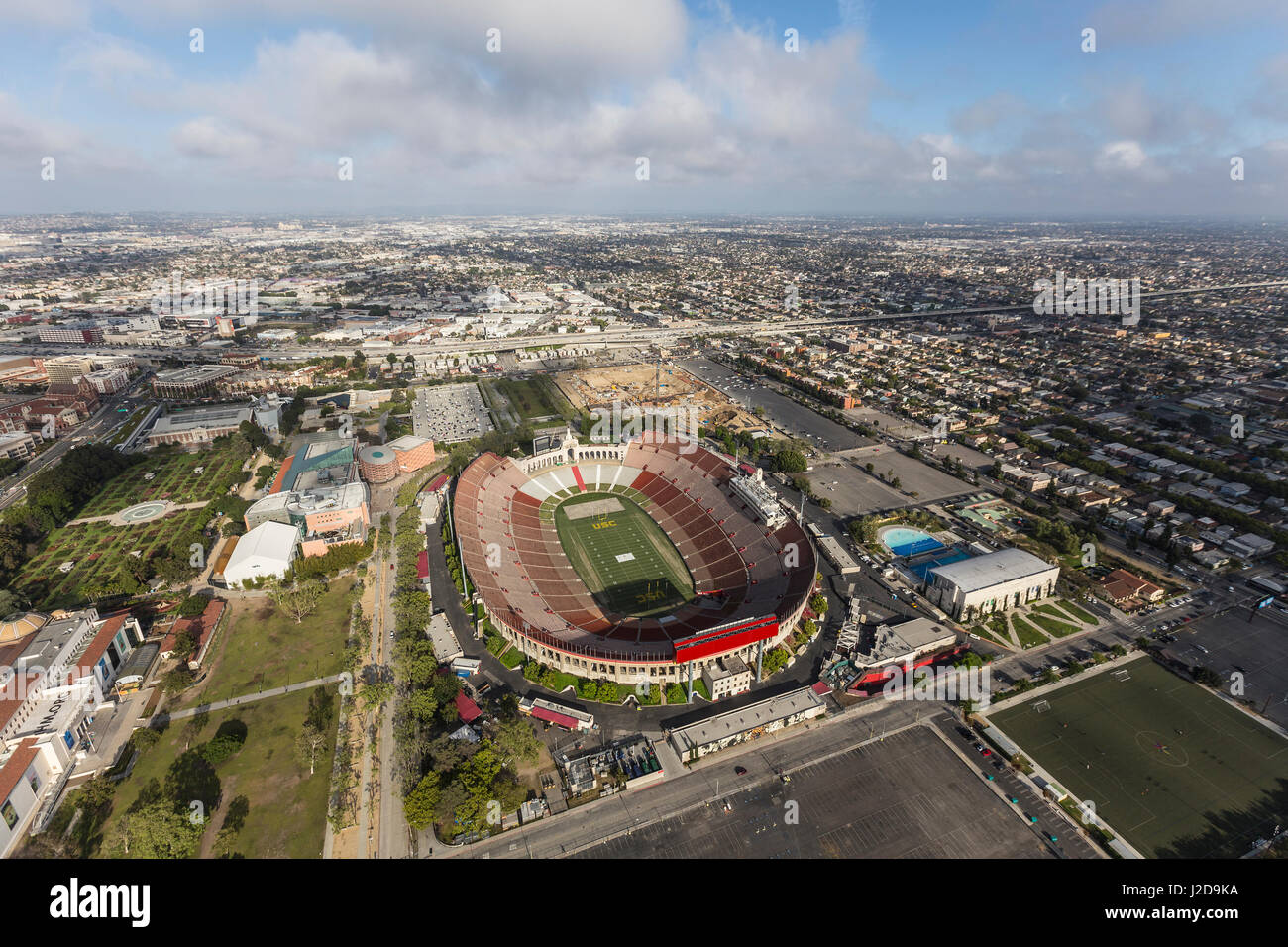 Los Angeles, California, USA - April 12, 2017:  Aerial view of the historic Coliseum stadium near the University - Stock Image