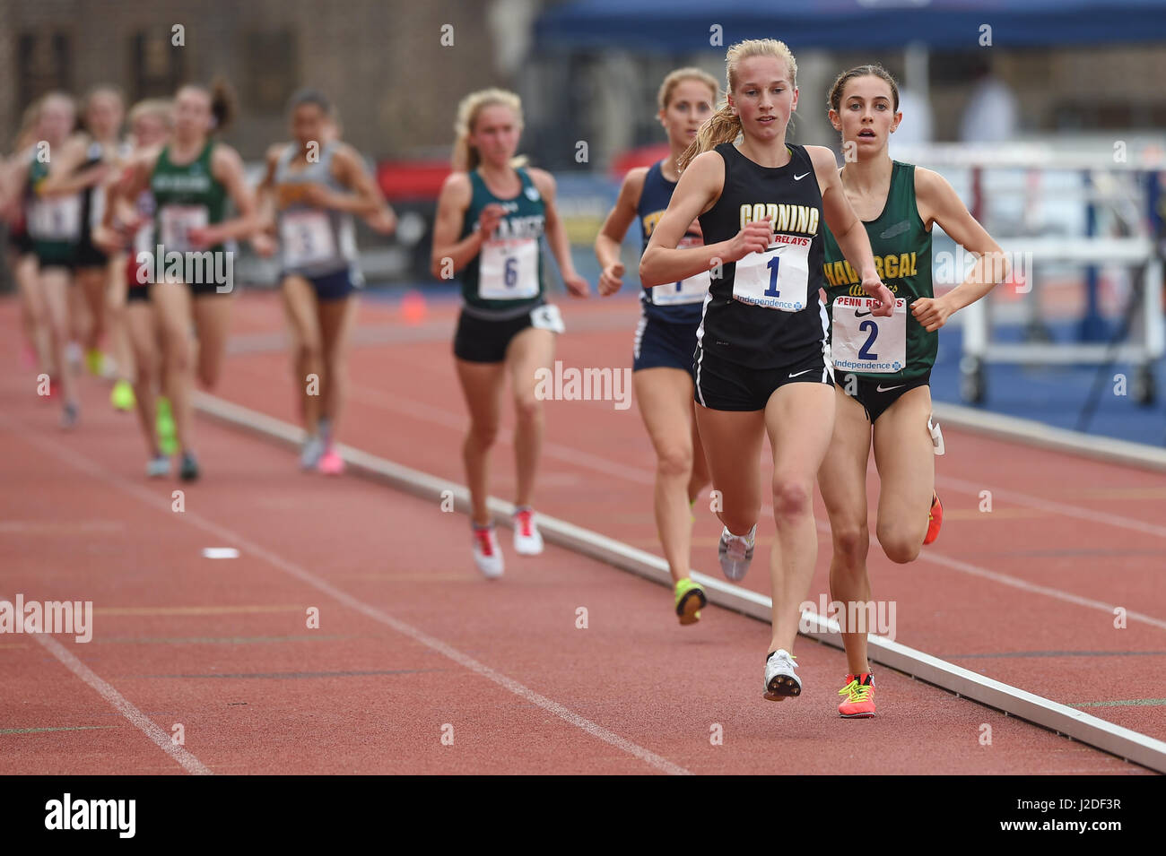 April 27, 2017 Corning's Jessica Lawson leads the high 3000 championship during the 123rd games of the 2017 - Stock Image
