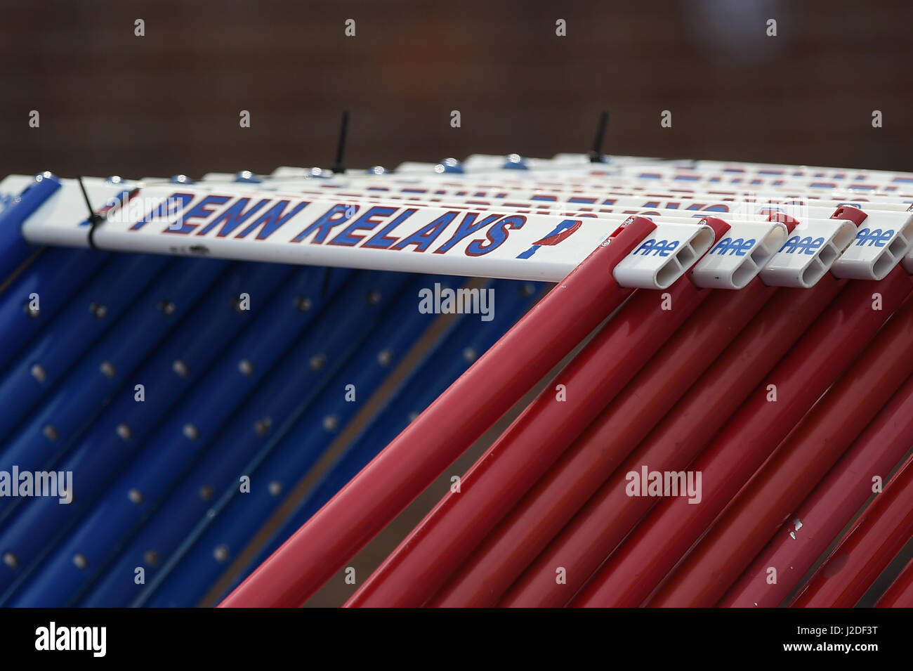 April 27, 2017 Penn Relay hurdles are lined up during the 123rd games of the 2017 Penn Relays at Franklin Field - Stock Image