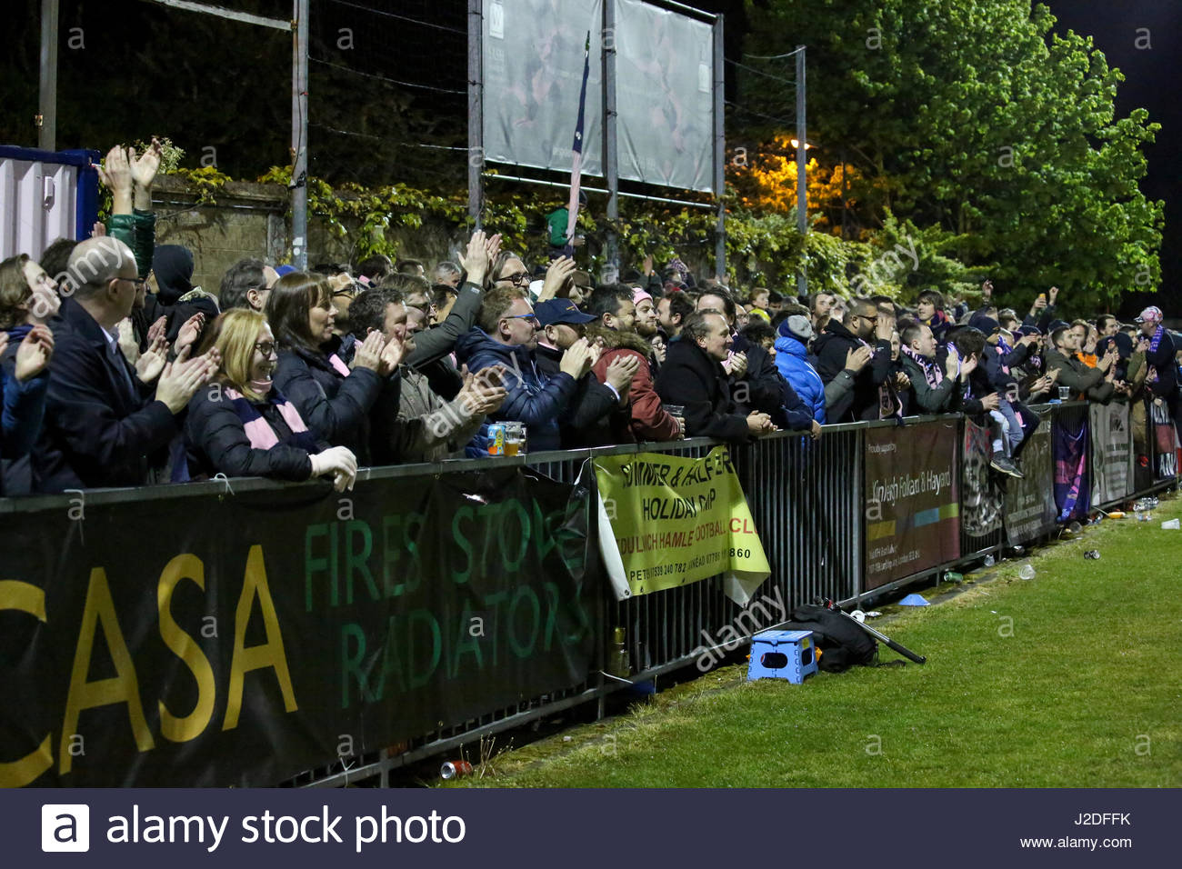 London, UK. 27th April, 2017. Fans celebrates after Dulwich Hamlet won their Ryman Premier Play-Offs Semi-Finals - Stock Image