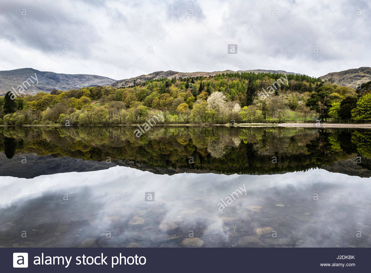 Brantwood House, Coniston, Lake District, England, UK. 28th Apr, 2017. A tranquil and still morning on Coniston - Stock Image