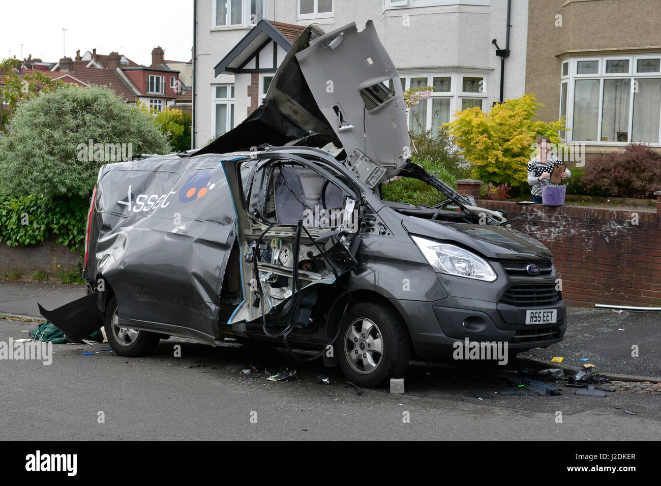 Bristol, UK. 28th April, 2017. Van ripped apart by gas bottle .The explosion happened on Linden Road in Bristol. - Stock Image