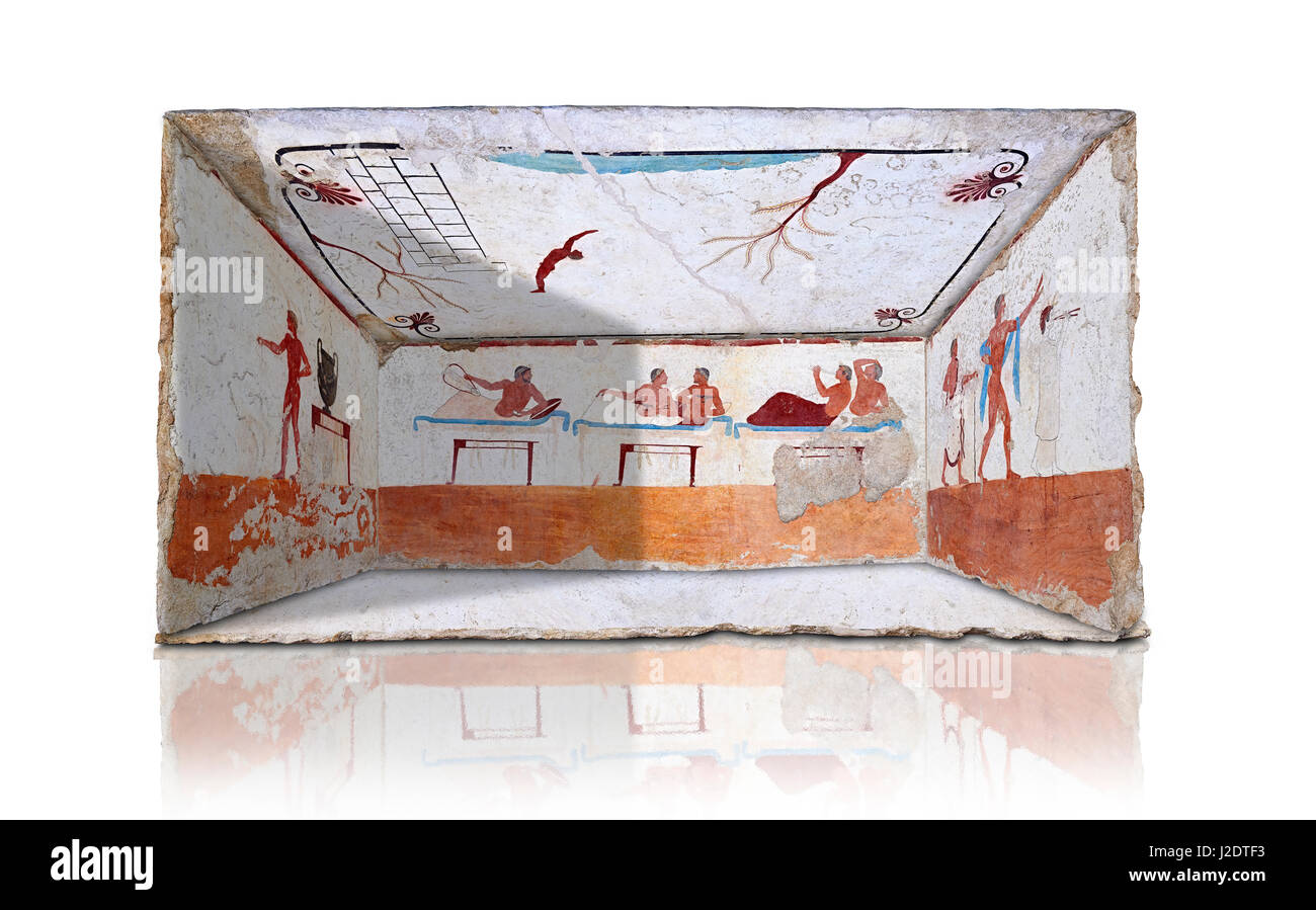 Reconstruction of  the inside of the Greek Tomb of  the Diver  [La Tomba del Truffatore]. The rear panel is from - Stock Image