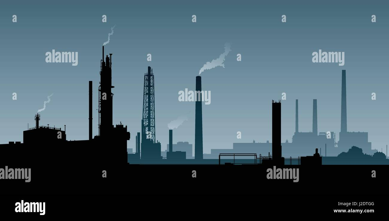 Skyline silhouette of a zone of heavy industry. - Stock Vector