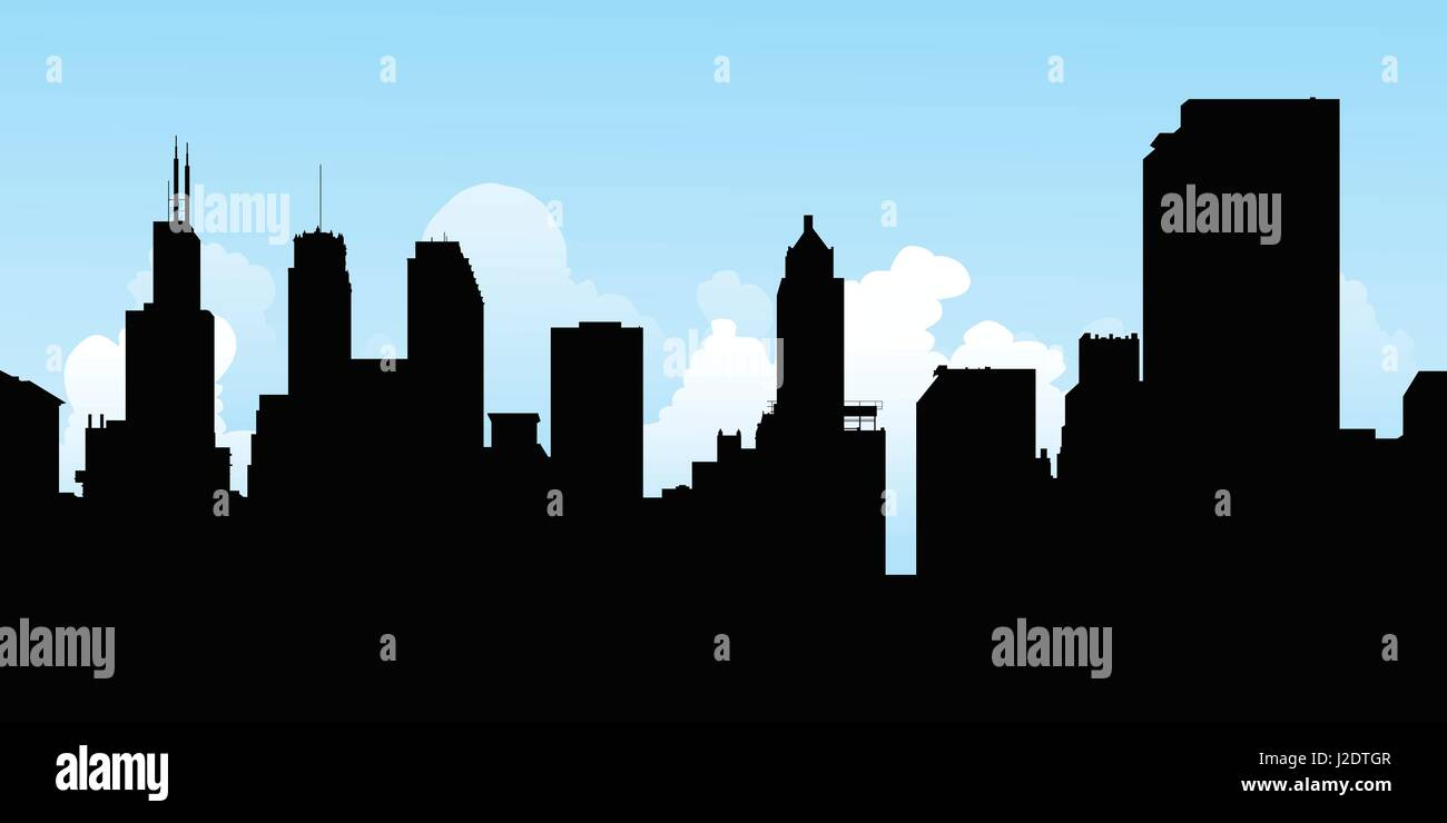 Skyline silhouette of the city of Chicago, Illinois, USA. - Stock Vector