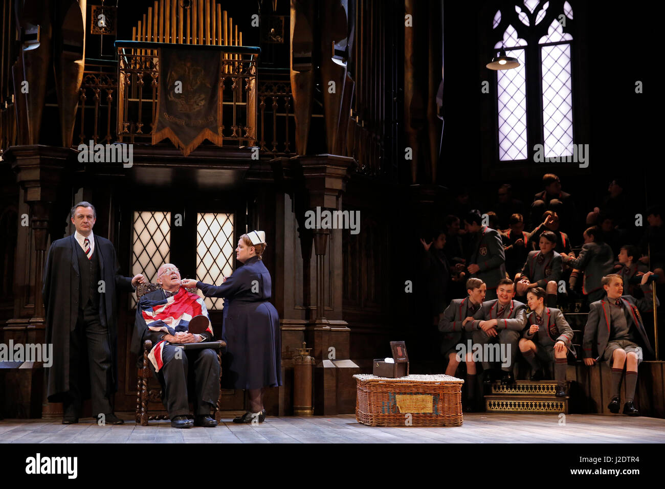 The cast perform in Alan Bennett's play 'Forty Years On' at the Chichetser Festival Theatre in Chichetser, - Stock Image