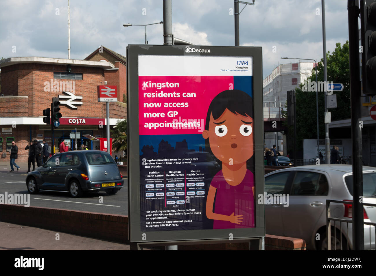 nhs street advertisement suggesting kingston residents can access more gp appointments, in kingston, surrey, england - Stock Image