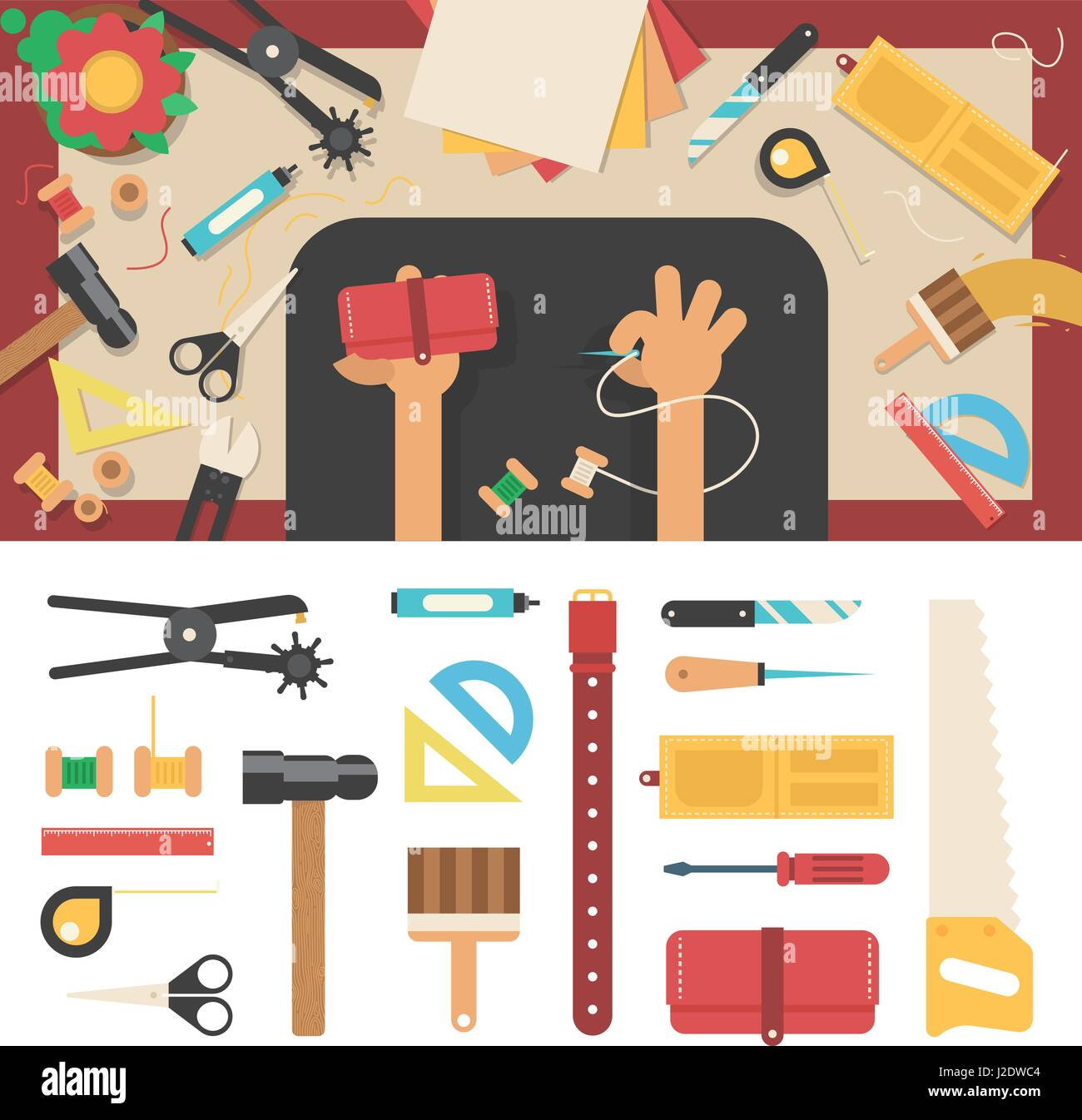Tools for handmade with leather - Stock Vector