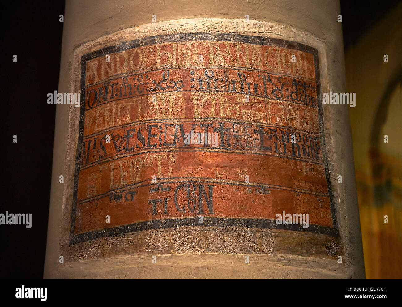 Romanesque frescoes from the Church of Sant Clement de Taull, Vall de Boi, Alta Ribagorca, Spain. Painted around - Stock Image