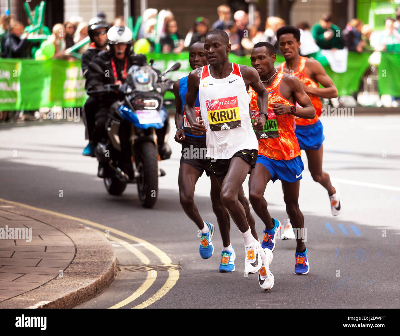 Abel Kiru  leading the men's elite race at the 2017 London Marathon. He went on to finish 4th, in a time of 02:07:45. Stock Photo