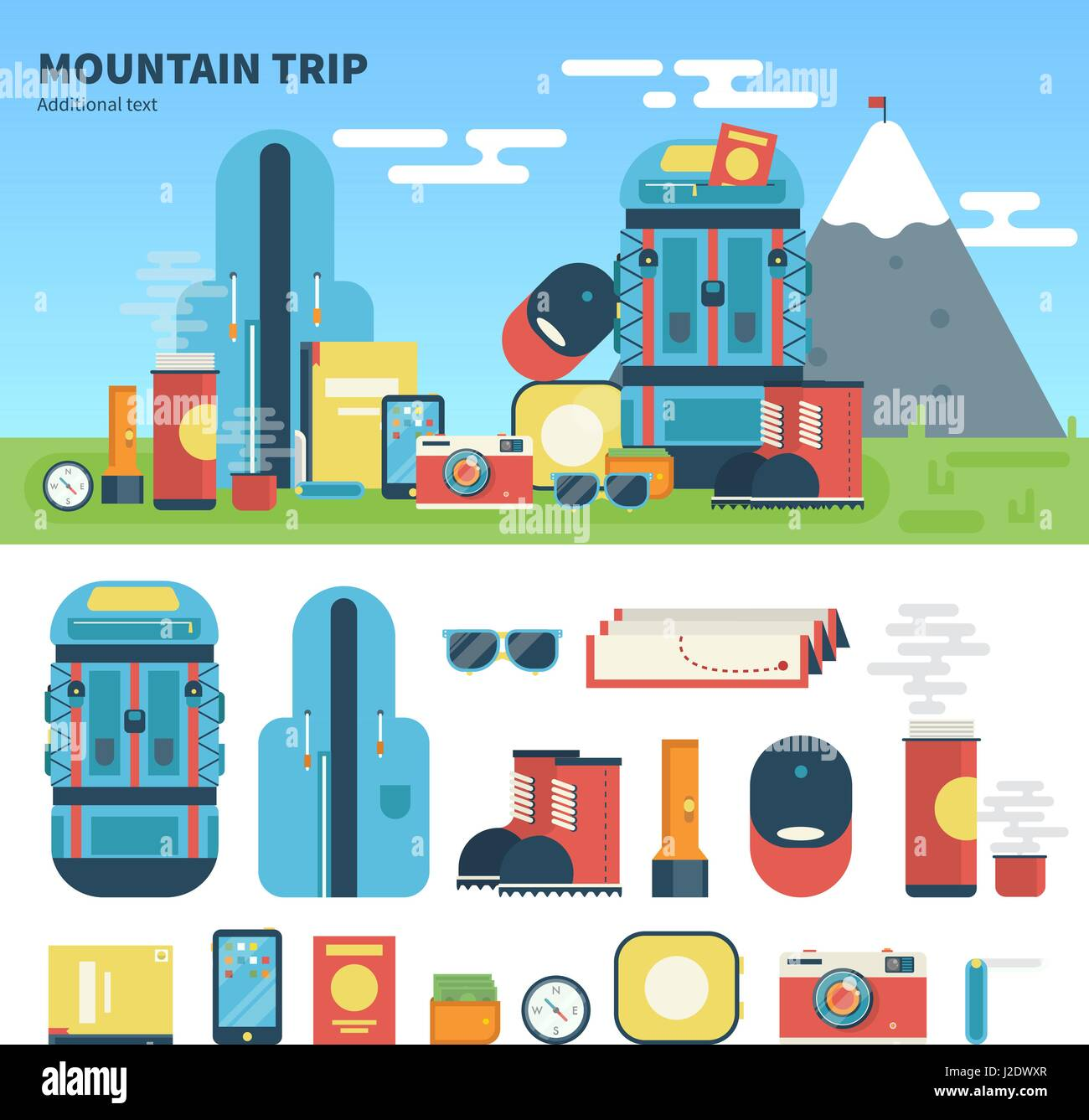Equipment for mountain trip - Stock Vector
