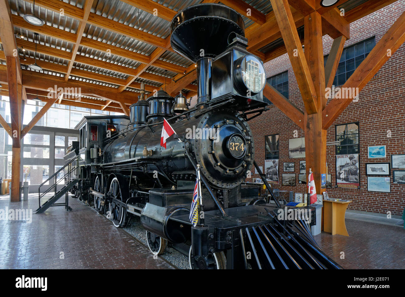 Restored CPR Engine 374 at the Roundhouse in Yaletown, Vancouver, British Columbia, Canada. Stock Photo