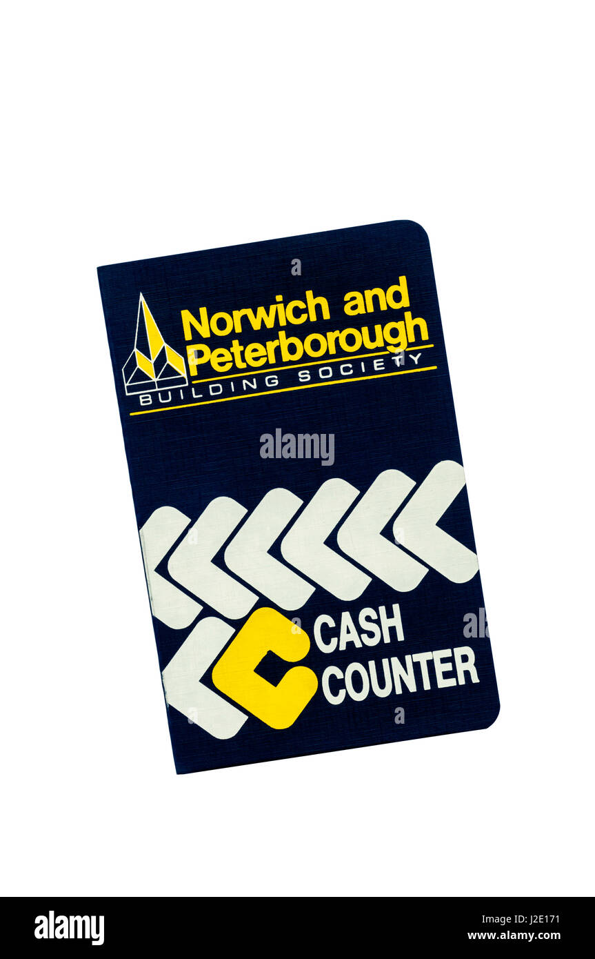 Building Society passbook. Norwich & Peterborough Building Society. Cash Counter Account. 1989. - Stock Image