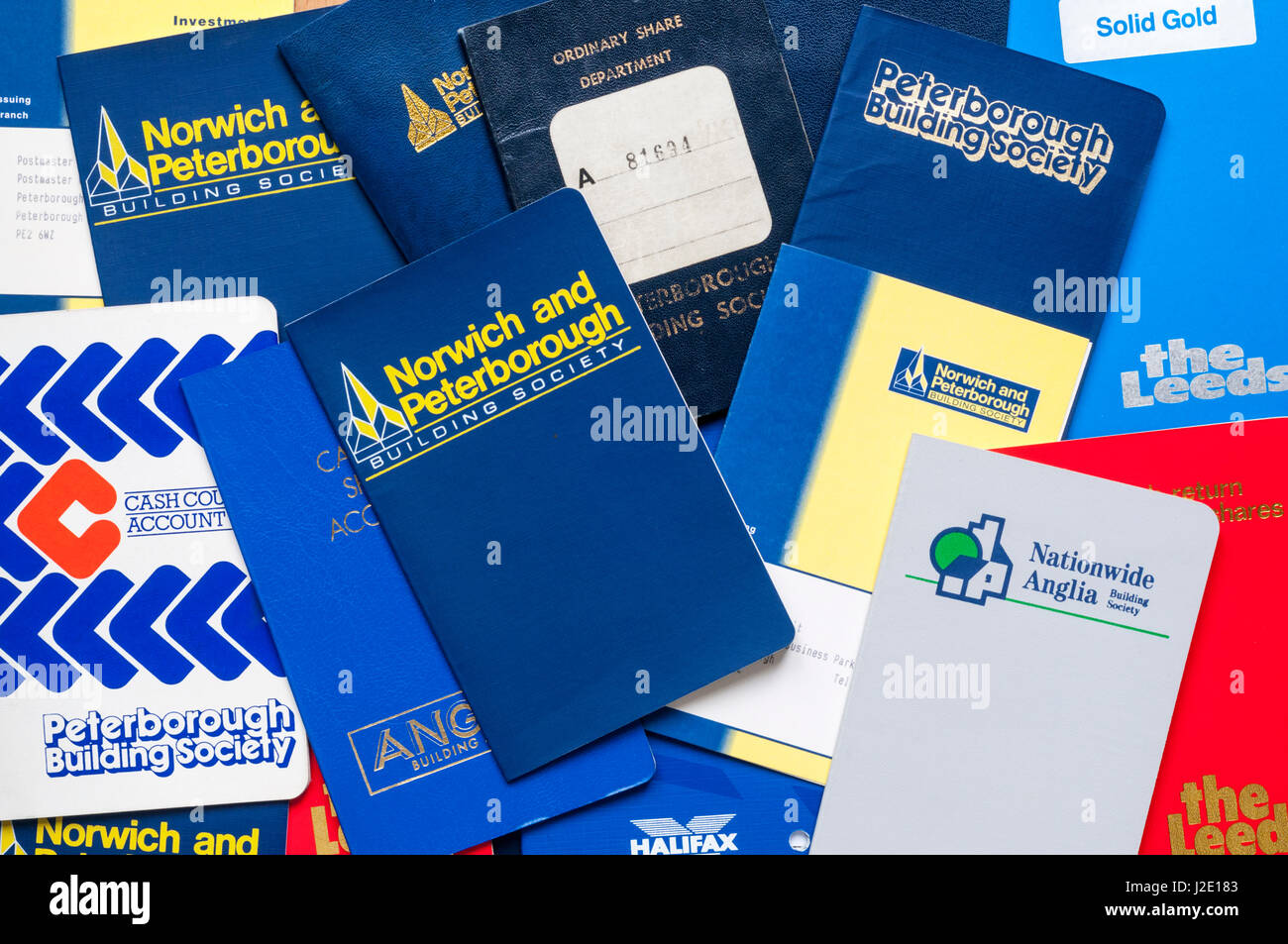 Selection of Building Society passbooks from 1970s to 1990s. - Stock Image