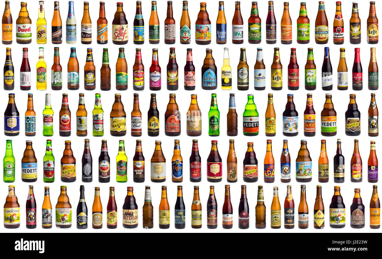 collection of international beer bottles from all over the world