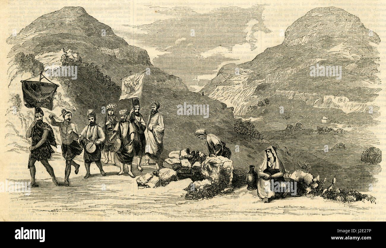 Antique 1854 engraving, 'Jacob's Well from Banvard's Panorama.' Jacob's Well is a deep well - Stock Image