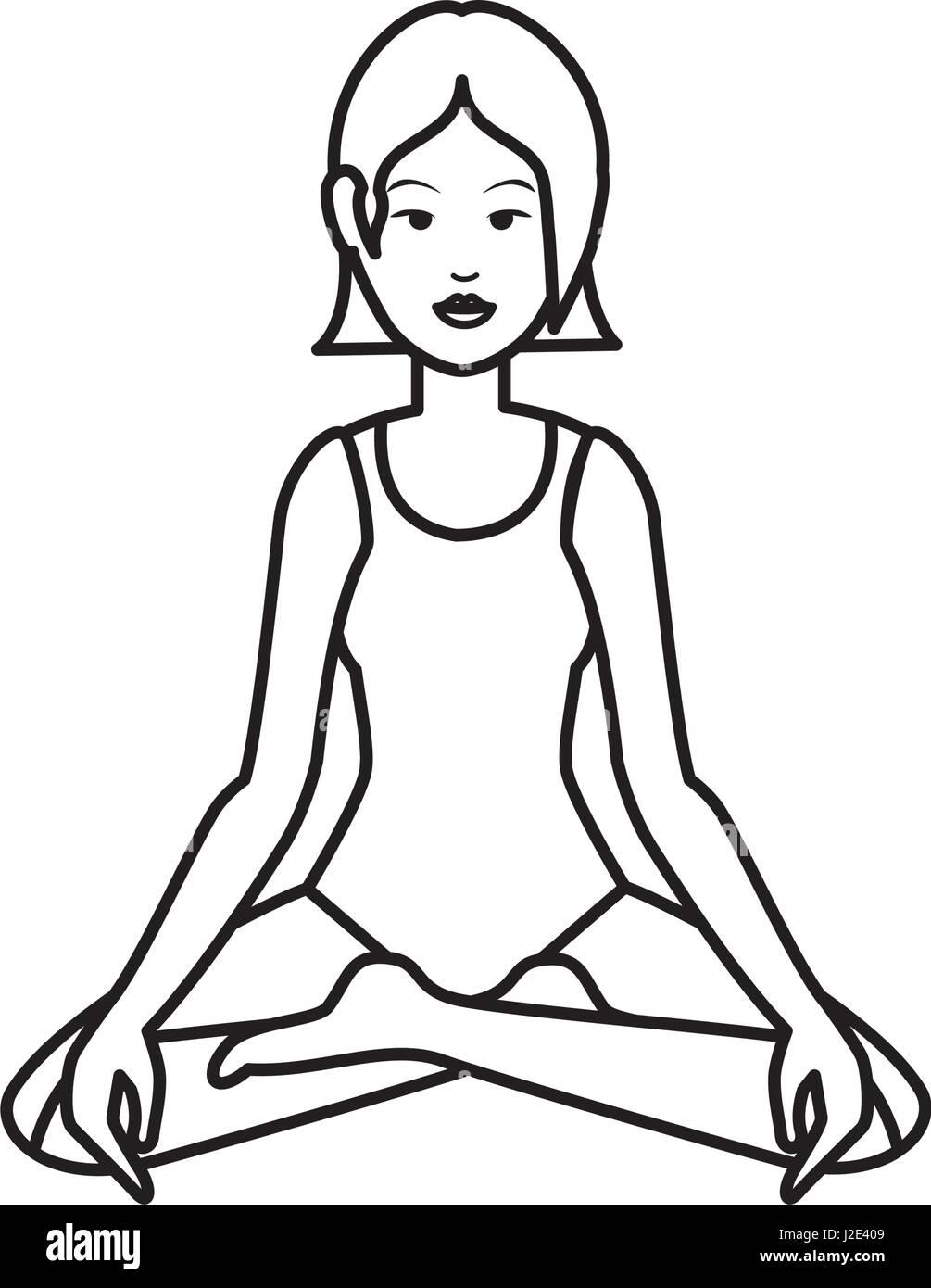 Yoga Cartoon Black And White Stock Photos Images Alamy